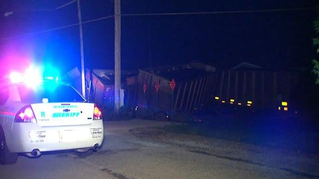 A train derailed at the tracks near South 66th Street and Frank Scott Parkway Wednesday (Credit: KMOV)