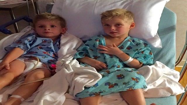 The O'Sullivan boys after a peanut allergy attack at a St. Louis area hospital (John O'Sullivan, KMOV)