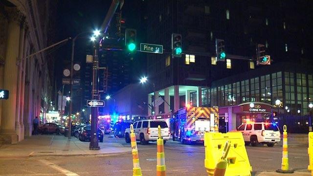 Emergency crews at 4th and Pine Friday (Credit: KMOV)
