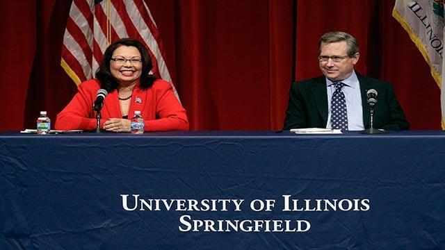 Republican U.S. Sen. Mark Kirk, right, and Democratic U.S. Rep. Tammy Duckworth (Credit: AP Photo / Seth Perlman)
