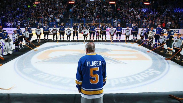 Original St. Louis Blues player Bob Plager during player introductions before the home opener against the Minnesota Wild on Thursday, Oct. 13, 2016, at the Scottrade Center in St. Louis. (Chris Lee/St. Louis Post-Dispatch/TNS via Getty Images)