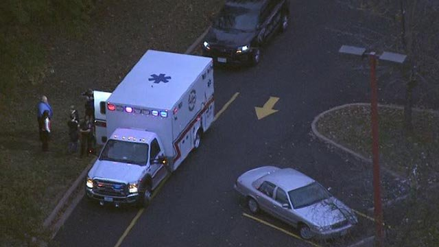 Ambulance outside school after child hit by vehicle (Credit: KMOV)