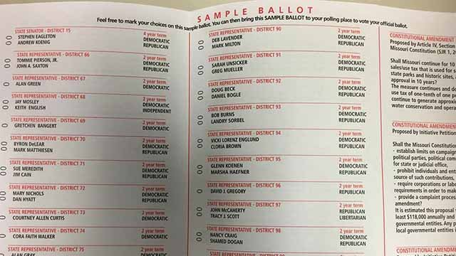A sample ballot that will be mailed to St. Louis County voters. Credit: KMOV