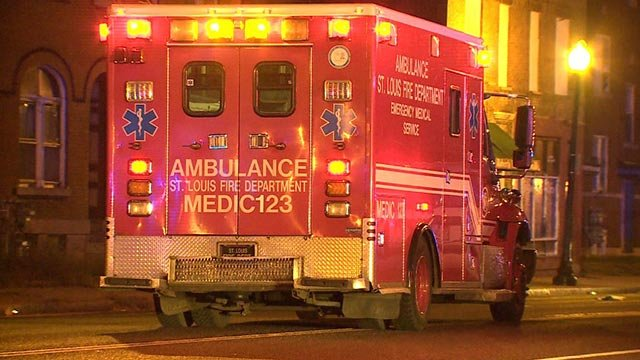 An ambulance in the 7900 block of North Broadway following a hit-and-run (Credit: KMOV)