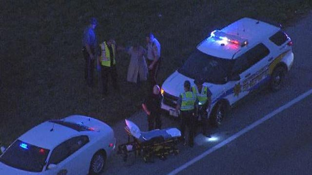 The scene on EB I-70 after a police pursuit ended Wednesday morning (Credit: KMOV)