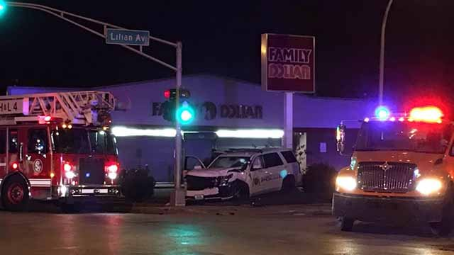 2 SLMPD officers were involved in a crash while pursuing a carjacking suspect in north St. Louis Monday. Credit: KMOV