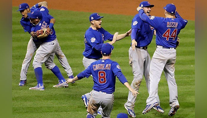 The Chicago Cubs celebrate after Game 7 of the Major League Baseball World Series against the Cleveland Indians Thursday, Nov. 3, 2016, in Cleveland. The Cubs won 8-7 in 10 innings to win the series 4-3. (AP Photo/Gene J. Puskar)