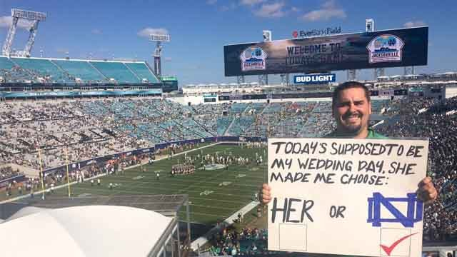 Sean Bradshaw's wedding was cancelled, so, he spent the day at the Notre Dame game. (Credit: Nancy Bradshaw).