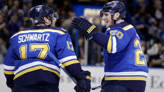 St. Louis Blues' Alexander Steen (20) and Jaden Schwartz (17) celebrate a goal during the second period of an NHL hockey game against the Colorado Avalanche, Sunday, Nov. 6, 2016, in St. Louis. (AP Photo/Jeff Roberson)
