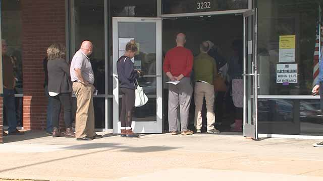 People in line to vote at the St. Louis County Election Board. Credit: KMOV