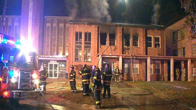 Firefighters at Mt. Beulah Missionary Baptist Church Wednesday night (Credit: KMOV)