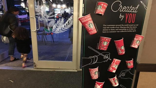 (AP Photo/Joseph Pisani). In this Tuesday, Nov. 8, 2016, photo, Starbucks holiday cups appear on display at a store in New York.