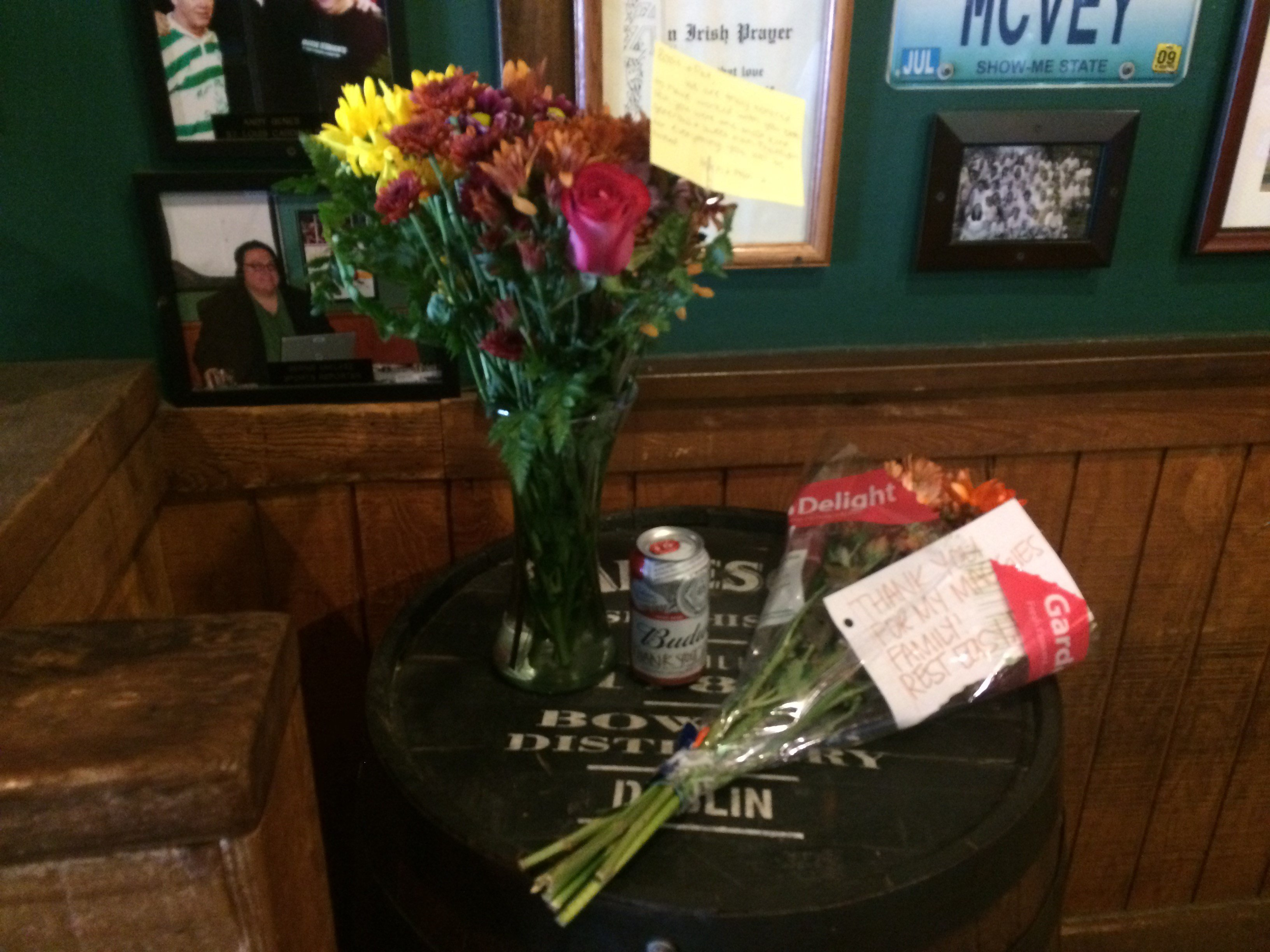 Bouquets of flowers and a beer were left on the steps of Maggie O'Brien's Irish Pub & Restaurant in memory of late co-owner Pat McVey who was shot and killed while driving on I-55 in St. Louis.