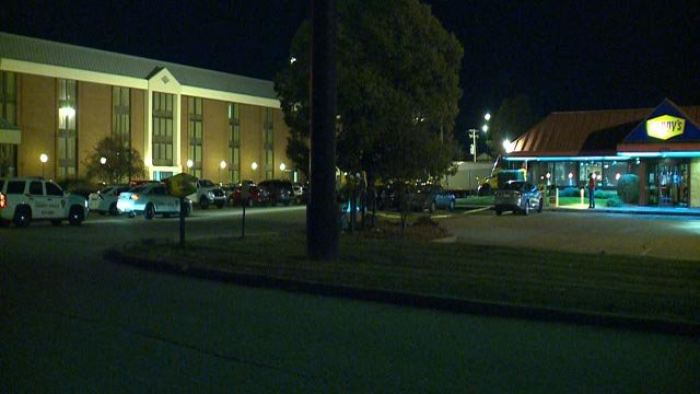 Police and crime scene tape on the Denny's parking lot in Fenton Friday (Credit: KMOV)