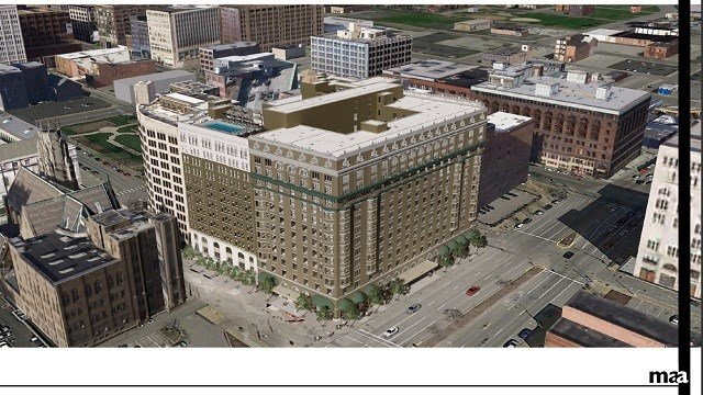 A rendering of the proposed hotel in Downtown St. Louis (Alterra International Renderings)