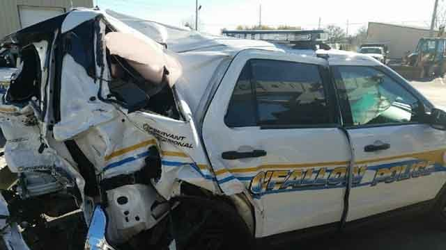 O'Fallon, MO Police Department posted photos of a cruiser involved in an accident on their Facebook page. (Credit: KMOV)