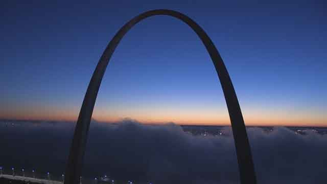 BJC Skycam Network captured photos of a foggy sunrise this morning. (Credit: KMOV).