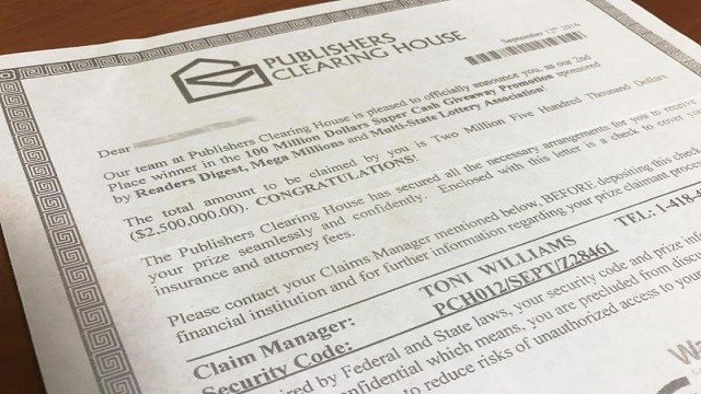 Consumer Task Force warns of Publishers Clearing House award scheme (Credit: BBB)