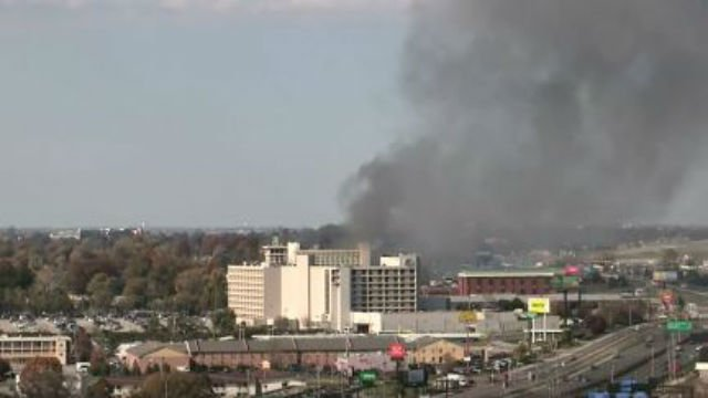Smoke seen billowing from a hotel near Lambert Airport (KMOV)