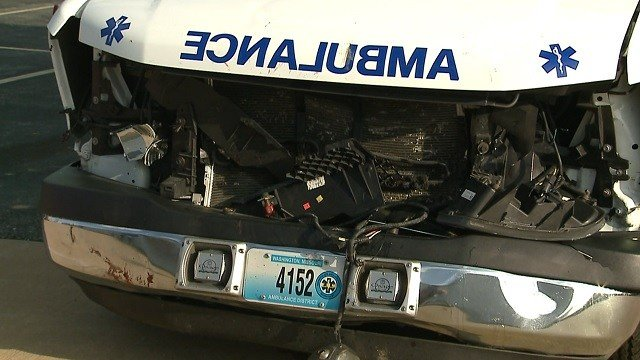 An ambulance with severe damage following a collision with deer in Franklin County (KMOV)