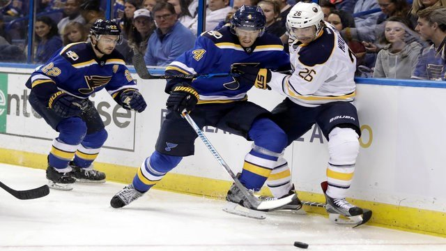 Buffalo Sabres' Matt Moulson (26) and St. Louis Blues' Carl Gunnarsson chase after a loose puck as Blues' Kevin Shattenkirk (22) watches during the third period of an NHL hockey game Tuesday, Nov. 15, 2016, in St. Louis. (AP Photo/Jeff Roberson)