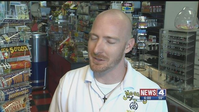 Ryan Dixon, who owns Smoke-N-Bottle in Fenton, is upset the suspect who robbed the store hasn't been charged. Credit: KMOV
