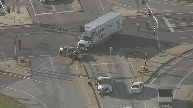 Crews on the scene of a crash at Chesterfield Airport Road Thursday (Credit: KMOV)
