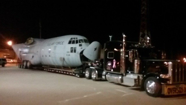A C-130 cargo plane got stuck in Sparta, Ill. Thursday afternoon. (Credit: KMOV)