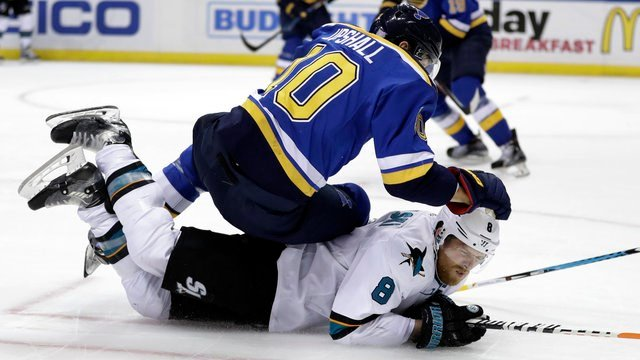 St. Louis Blues' Scottie Upshall, top, falls over San Jose Sharks' Joe Pavelski during the third period of an NHL hockey game Thursday, Nov. 17, 2016, in St. Louis. (AP Photo/Jeff Roberson)