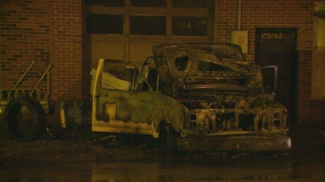 Hit-and-run crash leaves pickup truck burned out in Alton. (Credit:KMOV)