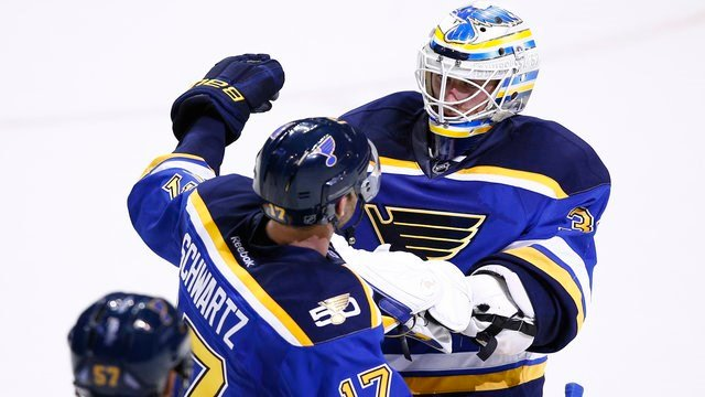 St. Louis Blues goalie Jake Allen, right, is congratulated by Jaden Schwartz after the Blues defeated the Minnesota Wild in an NHL hockey game Saturday, Nov. 26, 2016, in St. Louis. The Blues won 4-3 in a shootout. (AP Photo/Billy Hurst)