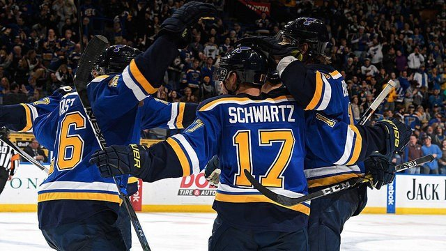Jaden Schwartz #17 of the St. Louis Blues is congratulated by teammates after scoring against the Minnesota Wild on November 26, 2016 at Scottrade Center in St. Louis, Missouri. (Photo by Scott Rovak/NHLI via Getty Images)