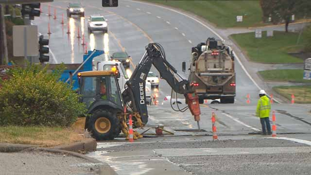 The intersection of Watson and Rock Hill Road will be closed until at least Tuesday morning due to a water main break. Credit: KMOV