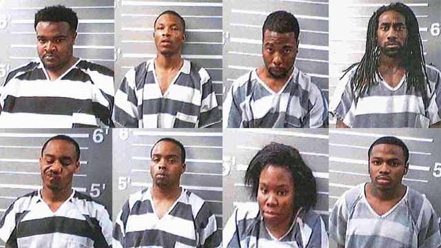 These 8 suspects allegedly stole merchandise from Plaza Frontenac and led officers on a chase into Illinois. Police are looking for 4 other suspects.  Credit: Illinois State Police