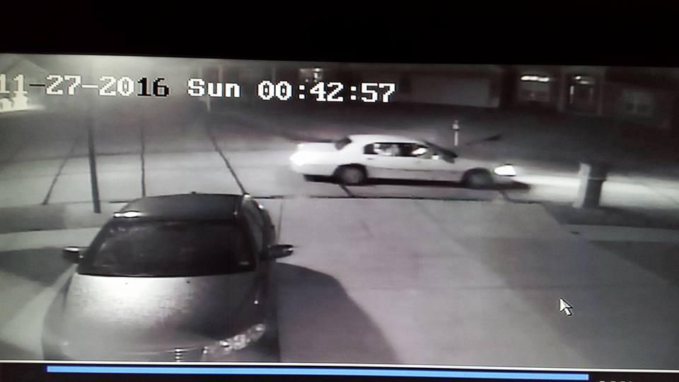 Surveillance video captured the car neighbors believe stole decorations. (Credit: Facebook)
