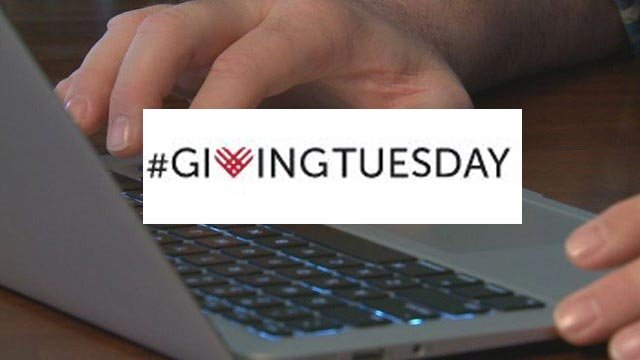 #GivingTuesday logo on a laptop background (Credit: KMOV / #GivingTuesday)