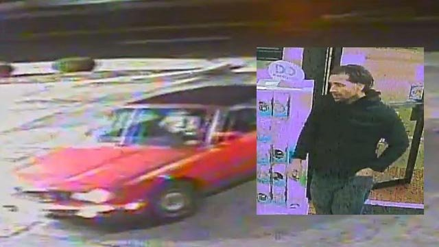An armed robbery suspect and the vehicle he is believed to have fled in (Credit: St. Louis County Police)