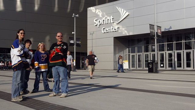 KANSAS CITY, MO - Fans look on from the exterior of the Sprint Center prior to a preseason game between the St. Louis Blues and the Los Angeles Kings on September 22, 2008 at the Sprint Center in Kansas City, Missouri. (Photo by Jamie Squire/Getty Images)