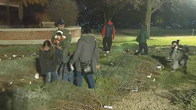 Military families picking out their Christmas trees at Scott Air Force Base. Credit: KMOV