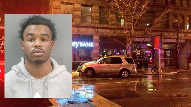 Travion Brown is accused of attempted robbery and assault after a man was shot inside his vehicle in downtown St. Louis on Nov. 22 (Credit: KMOV / St. Louis Police)