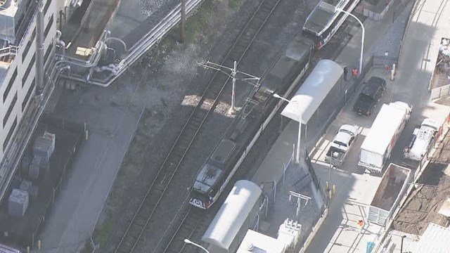 A man was struck by a MetroLink train near the Central West End station. (Credit: KMOV).