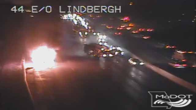 14 students on this bus got out safely when it caught on fire on EB I-44 near Lindbergh Monday evening. Credit: KMOV