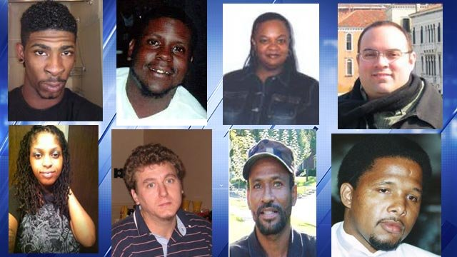 Xavier Mosley, David Morris III, Tanya Willis, Frank Dover, Brittany Jefferson, Brian Siler, Anthony Price and Cory Johnson (Credit: CrimeStoppers)