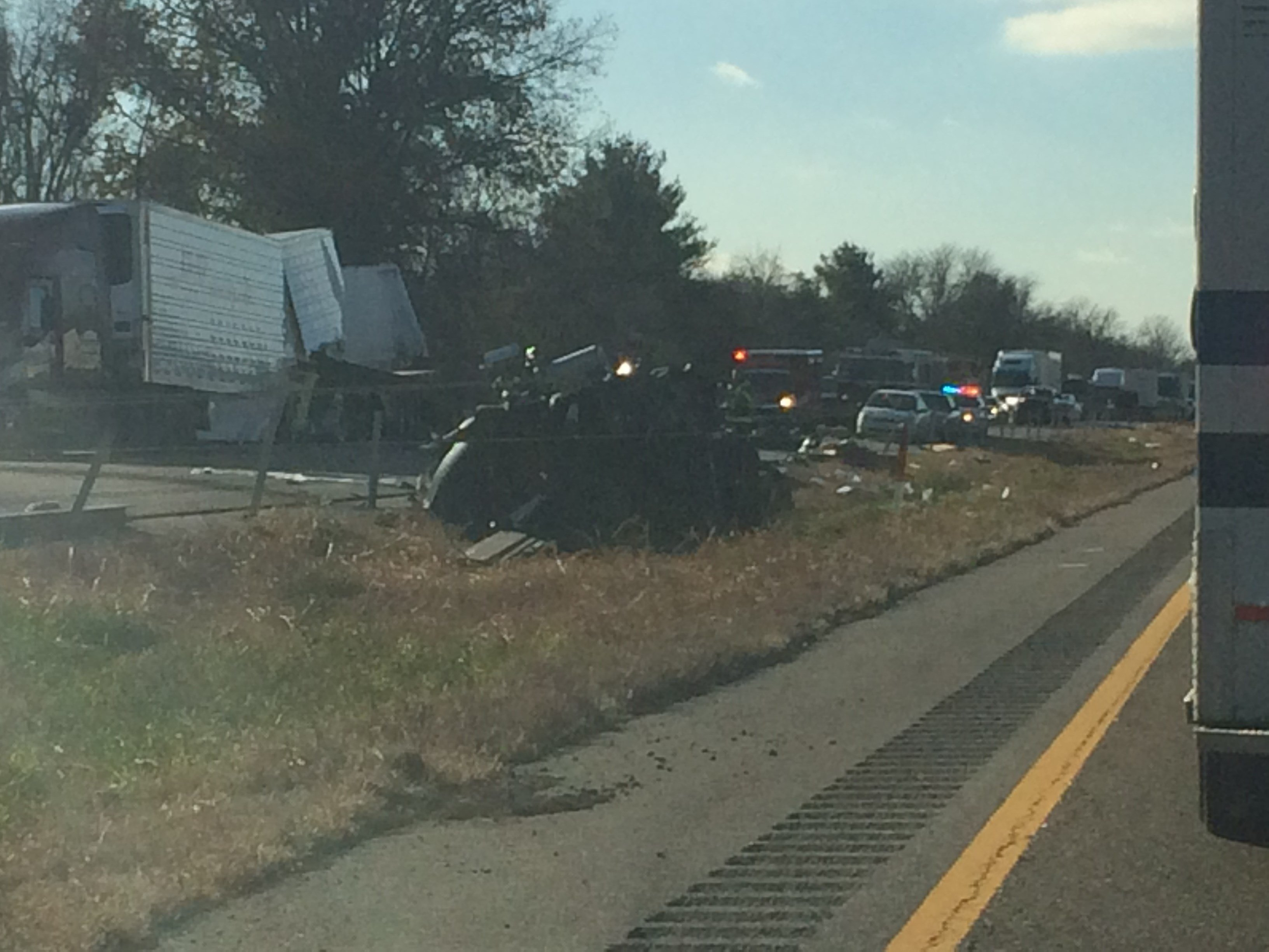 Eastbound lanes of Interstate 55/70 are blocked near Exit 15 in Maryville, Illinois due to a crash, according to IDOT. (Lauren Pozen, KMOV)