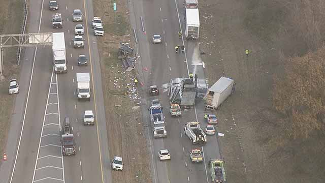 This wreck on 55/70 is causing major traffic issues near Maryville, Illinois. Credit: KMOV