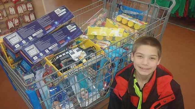 Matthew, 11, used his birthday money to buy presents for kids affected by wildfires in Tennessee. Credit: KMOV