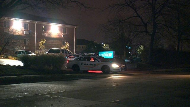 Police cruiser leaving the Crossland Economy Studios in Hazelwood after investigating reports of shots being fired (Credit: KMOV)