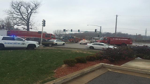 Emergency vehicles at Broadway and Carrie (Credit: KMOV)