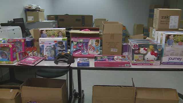 Someone dropped off $50,000 in toys at SLMPD headquarters Tuesday. Credit: KMOV