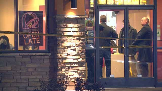 2 suspects robbed this Taco Bell in South City. One was caught after he allegedly pointed a gun at officers and officers then fired. Nobody was hit. Credit: KMOV